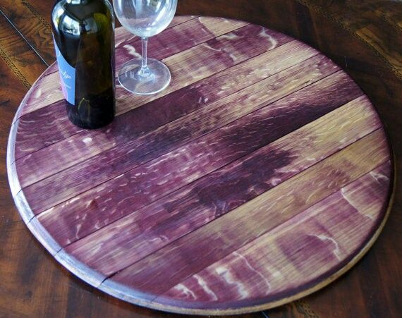 Wine Stained Lazy Susan From Reclaimed Barrels Www Wbwc Winebarrel