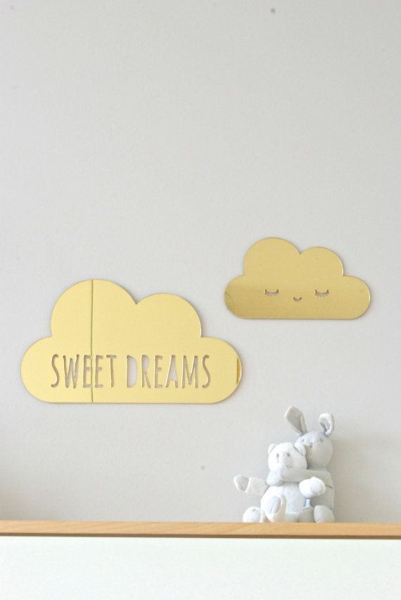 2 gold acrylic mirror puffy clouds sweet dreams by HopStudio   Hop ...