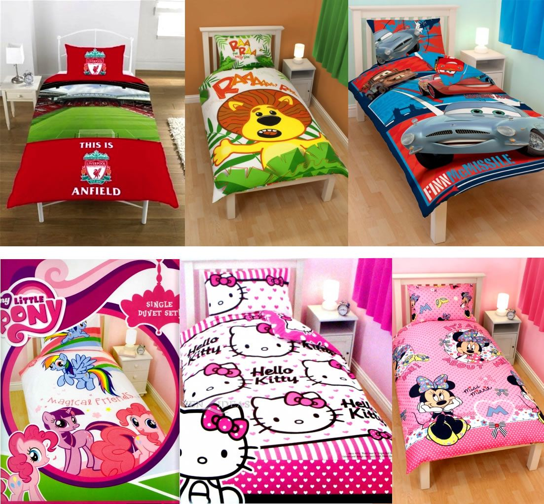 Kids Characters Brands Single Double Bed Quilt Duvet Cover Sets New