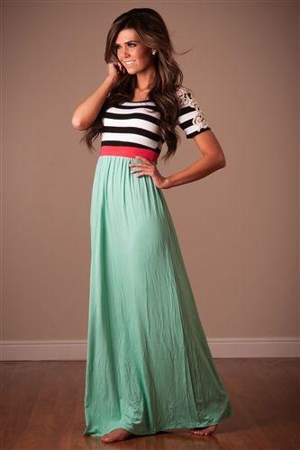 Mint Coral Summer Maxi Dress Chevron Maxi Cute Modest