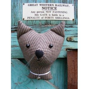 Fake  taxidermy , shabby chic, country house, Cat  trophy head. Vintage fabric. £13