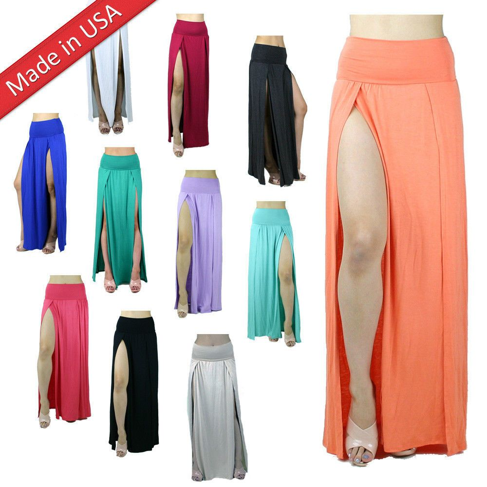 20638dad3a Double Slit High Banded Waist Stretch Long Full Length Two Split Leg Maxi  Skirt #MAXISKIRTS #Maxi