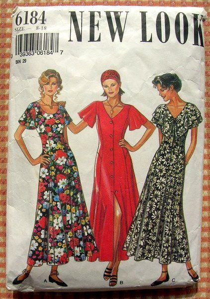 Misses Ankle Length Dress Vintage 90s New Look Sewing Pattern 6184 Retro Sewing Patterns Vintage Sewing Patterns Vintage Sewing