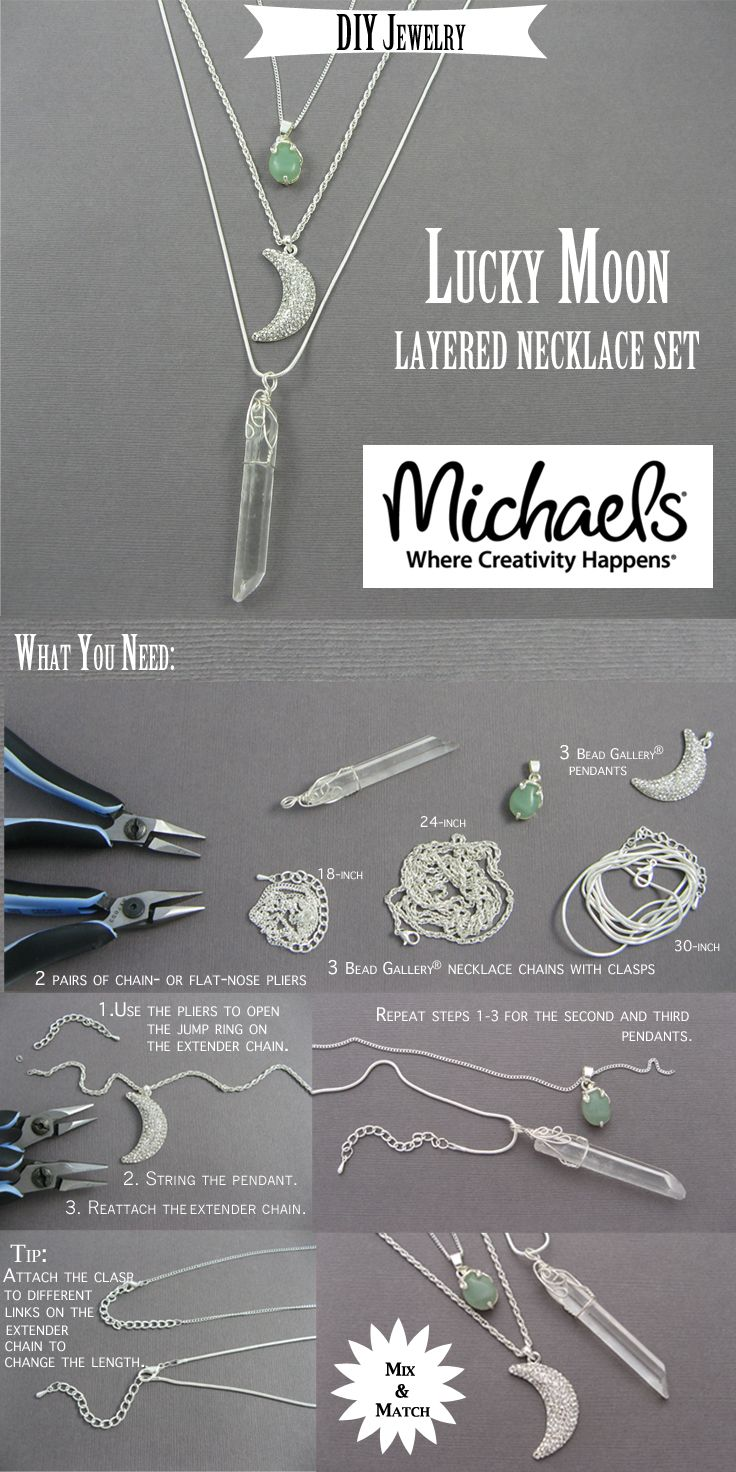 Create 3 or more necklaces to layer using chains, crystals and charms