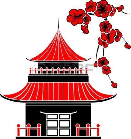 maison asiatique et cerisiers en fleurs pochoir mosa que maison asiatique maison dessin et. Black Bedroom Furniture Sets. Home Design Ideas