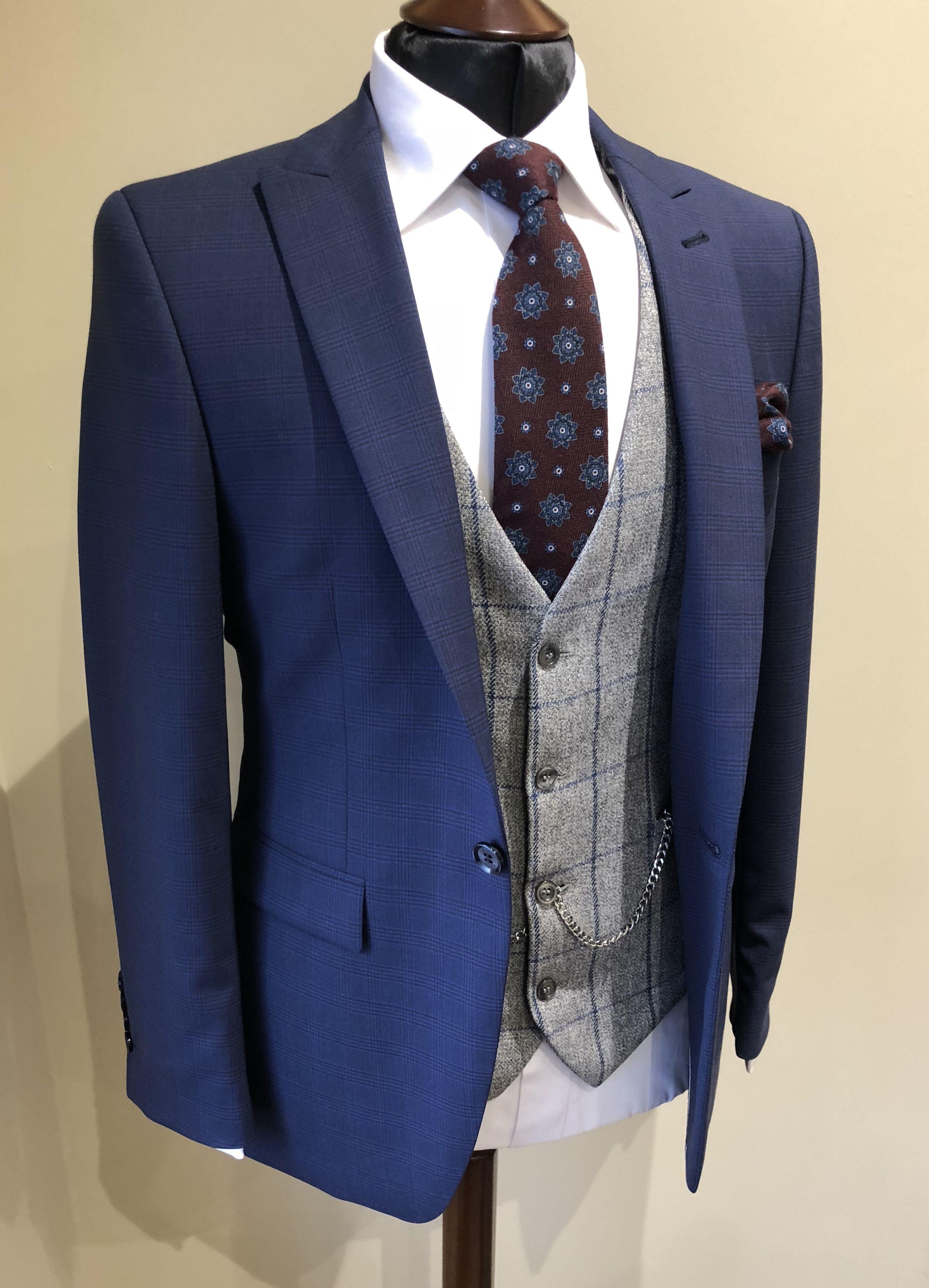 Slim fit Blue check suit grey tweed waistcoat groom