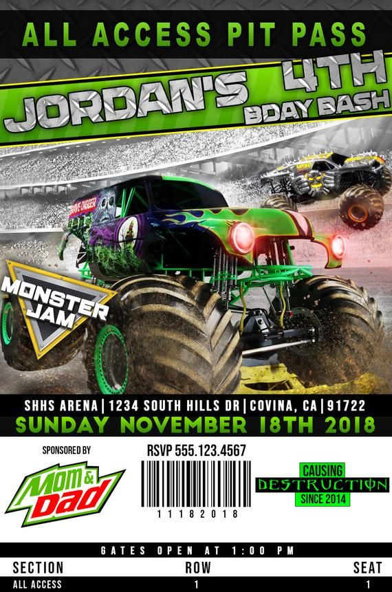 Printable Grave Digger Pit Pass 1 Birthday Invitation Monster Jam
