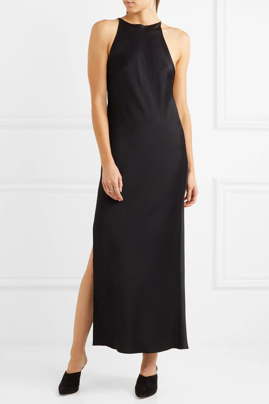Karen Satin Midi Dress - Black Khaite kWblGOr