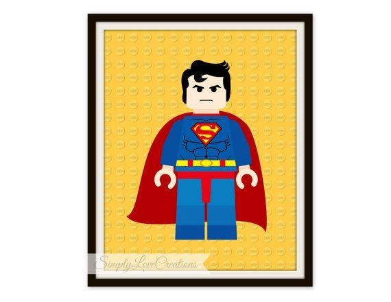 Lego Superman Print, Superhero Pop Art, Instant Download, PRINTABLE ...