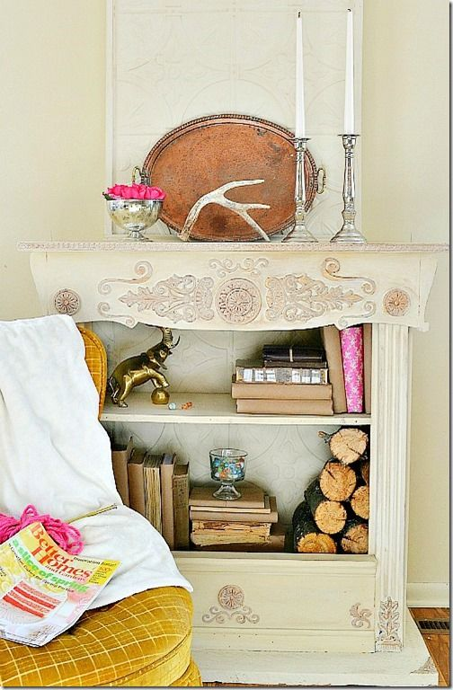 Bookcase fireplace tutorial from | Tutorials, Faux fireplace and ...