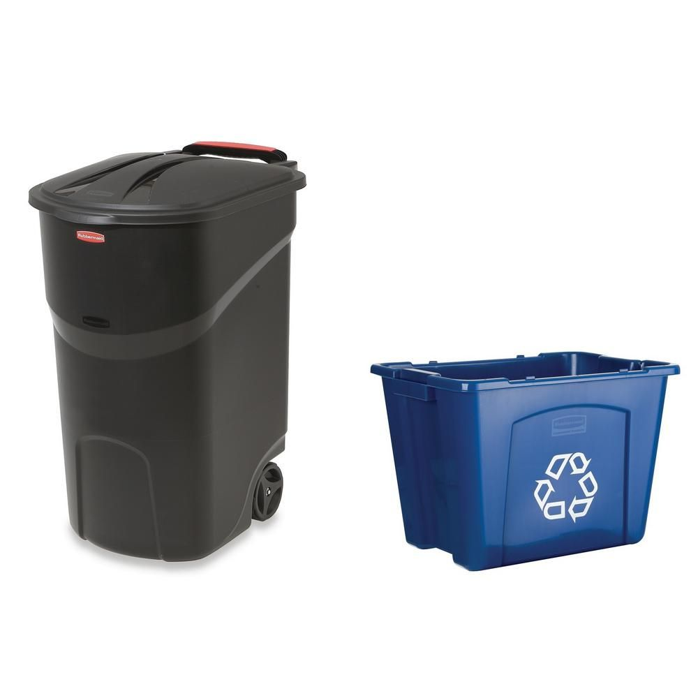Recycle Bins For Home Roughneck 45 Galblack Wheeled Trash Can With 14 Galrecycling Bin