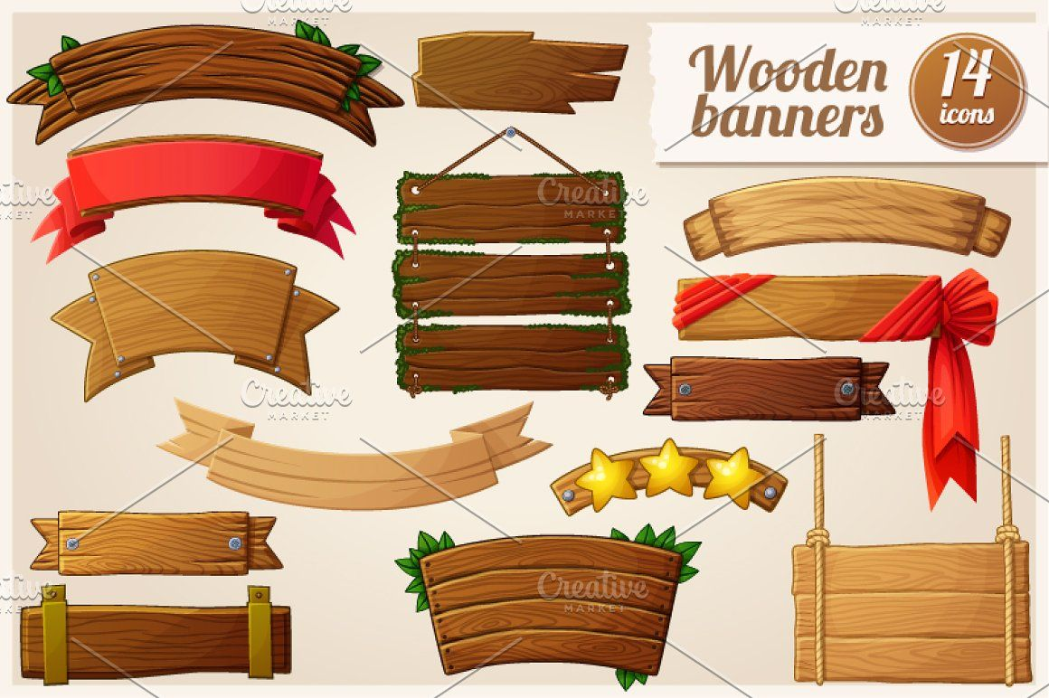 Cartoon Wooden Banners Wood Banner Graphic Design Resources Simple Pictures
