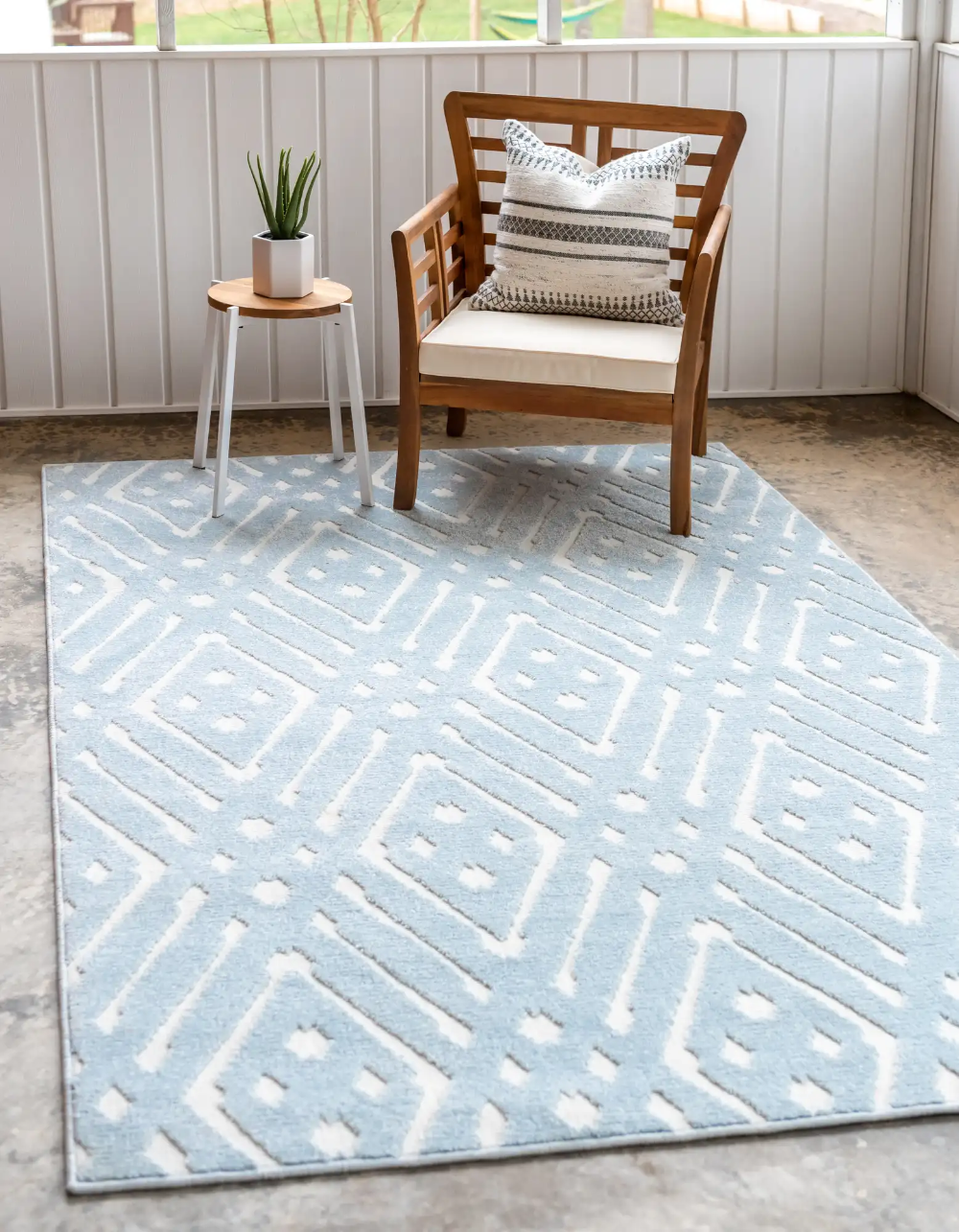 Light Blue 8 X 10 Sabrina Soto Outdoor Rug Esalerugs With