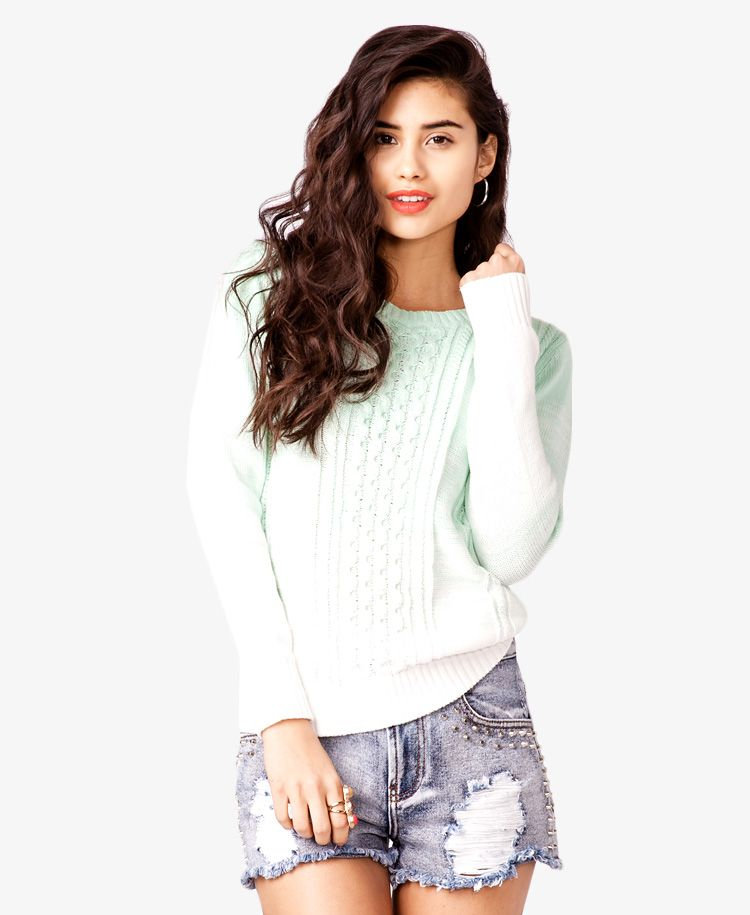 Cable Knit Ombré Sweater Forever21 2024735837 Tops Pinterest