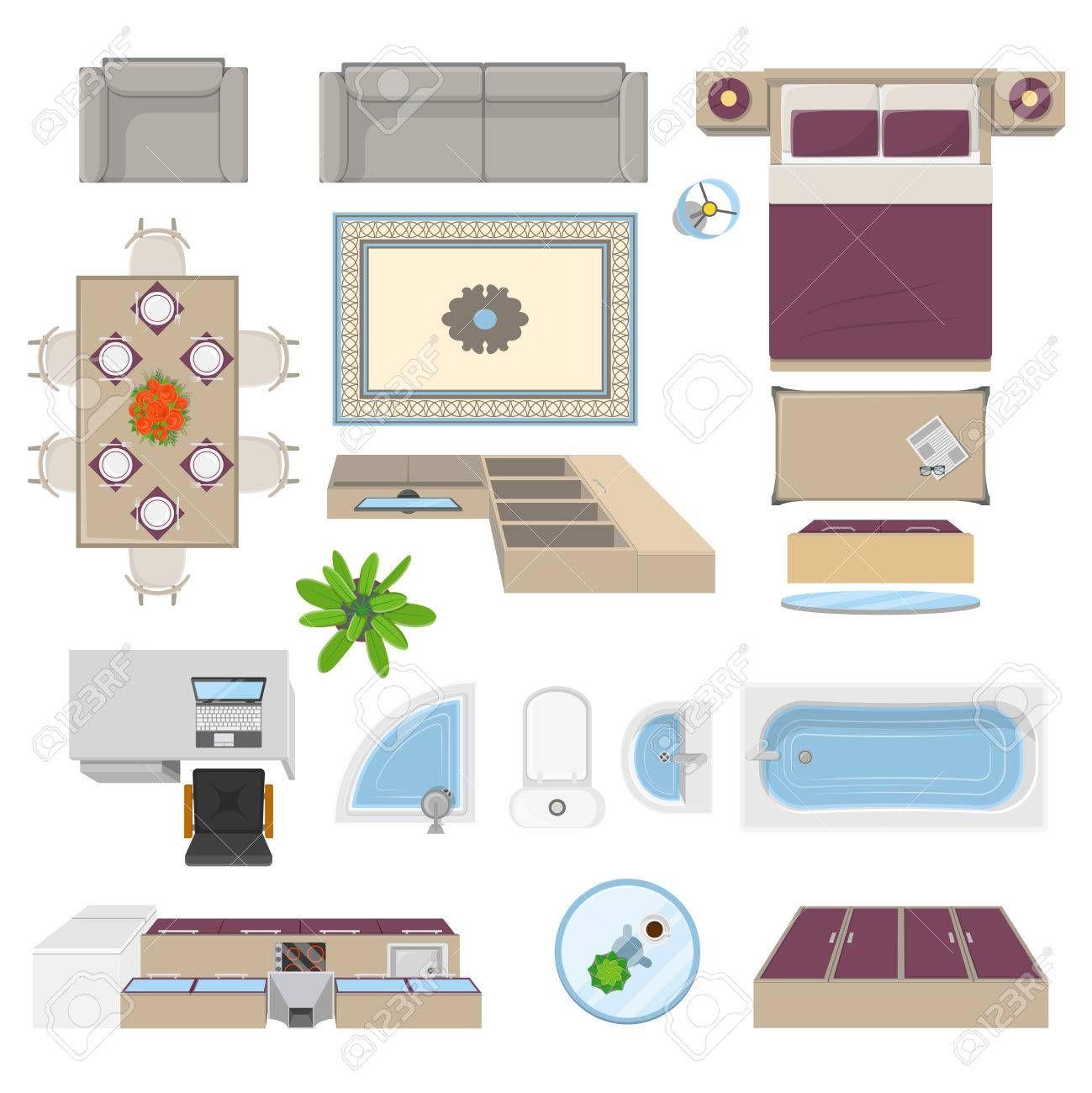 stock vector in 2020 interior interior design process flat interior on kitchen interior top view id=95280