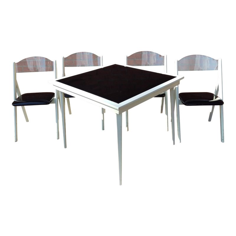1950s Vintage Stakmore Folding Table Chairs 5 Pieces White