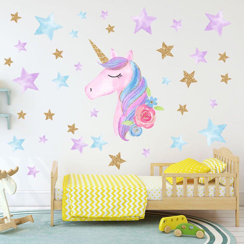 Fairy Unicorn Star Heart Wall Stickers Removable Girls Kids ...