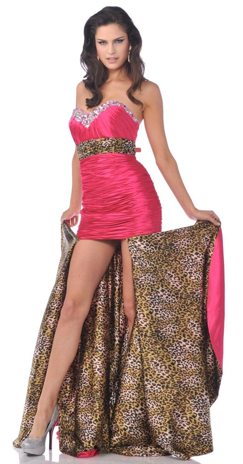 Zeilei fuchsia hi low strapless homecoming pageant dress im sorry sexy long ruffled top stunning with train leopard print homecoming formal prom dress ombrellifo Image collections