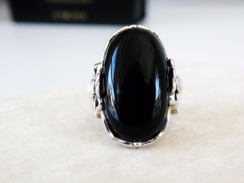Designer Sterling Silver 925 Black Onyx MOP Flower Long Oval SX Ring Size 9 #SX #Statement