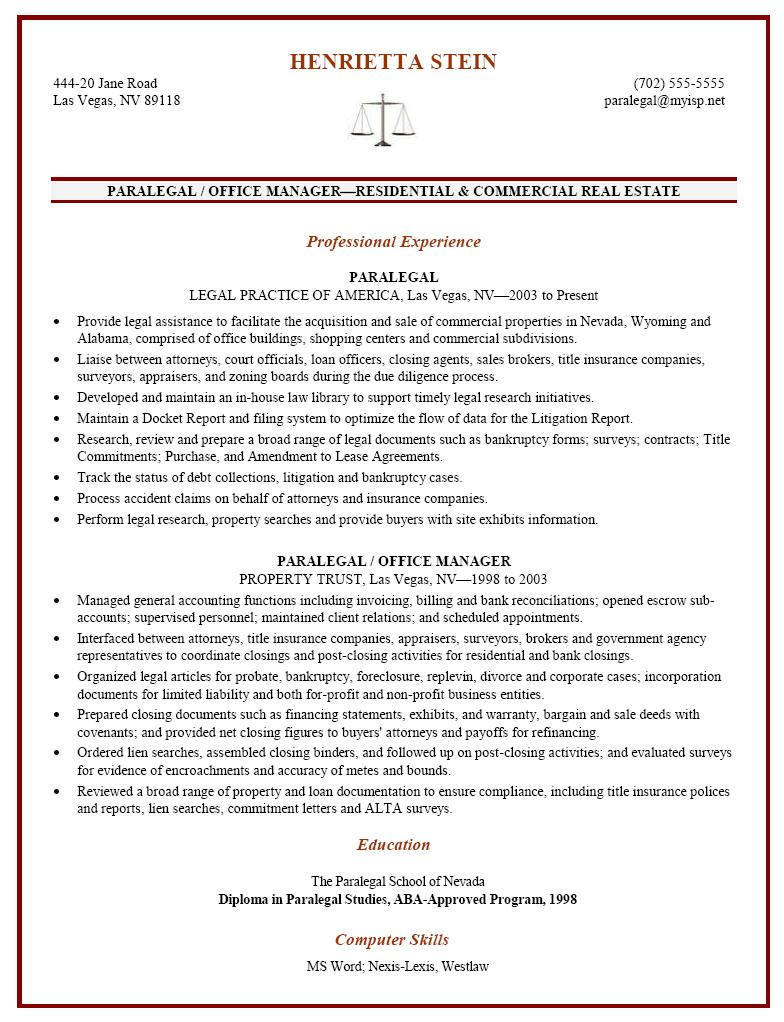 Certified Paralegal Resume Sample - http://resumesdesign.com ...