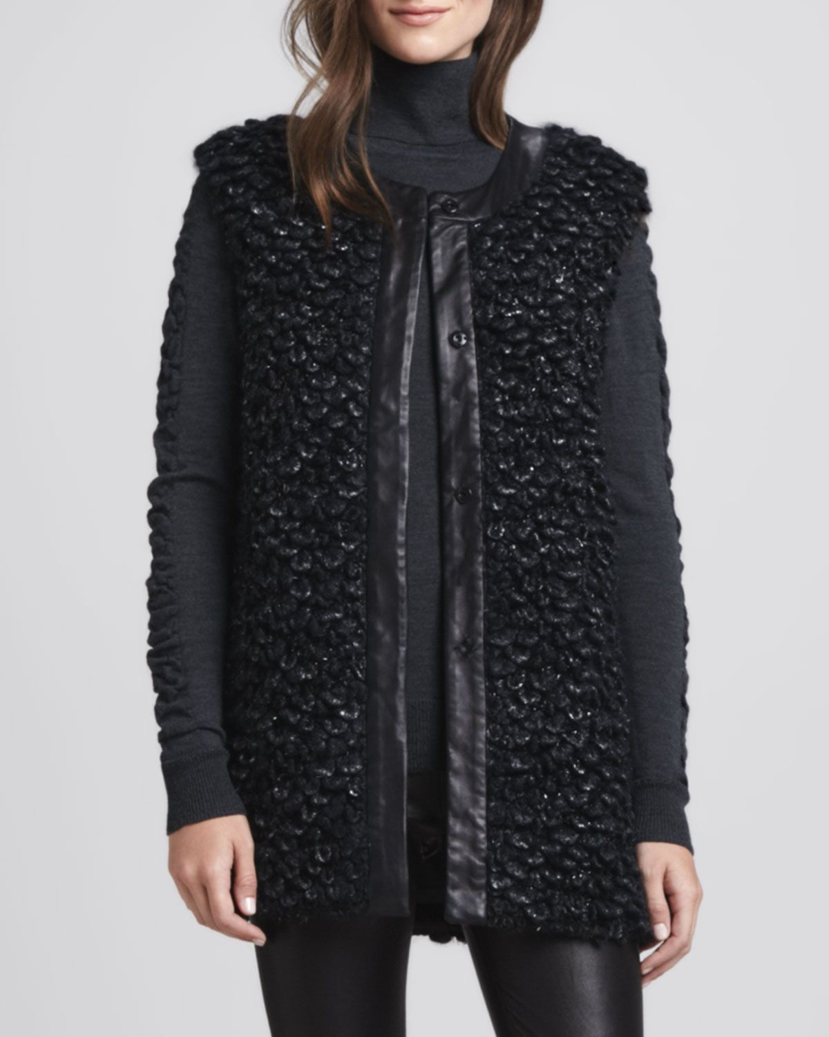 Milly Leather-Trim Long Vest, Shirred-Sleeve Wool Turtleneck & Monic Leather Skinny Pants - Bergdorf Goodman
