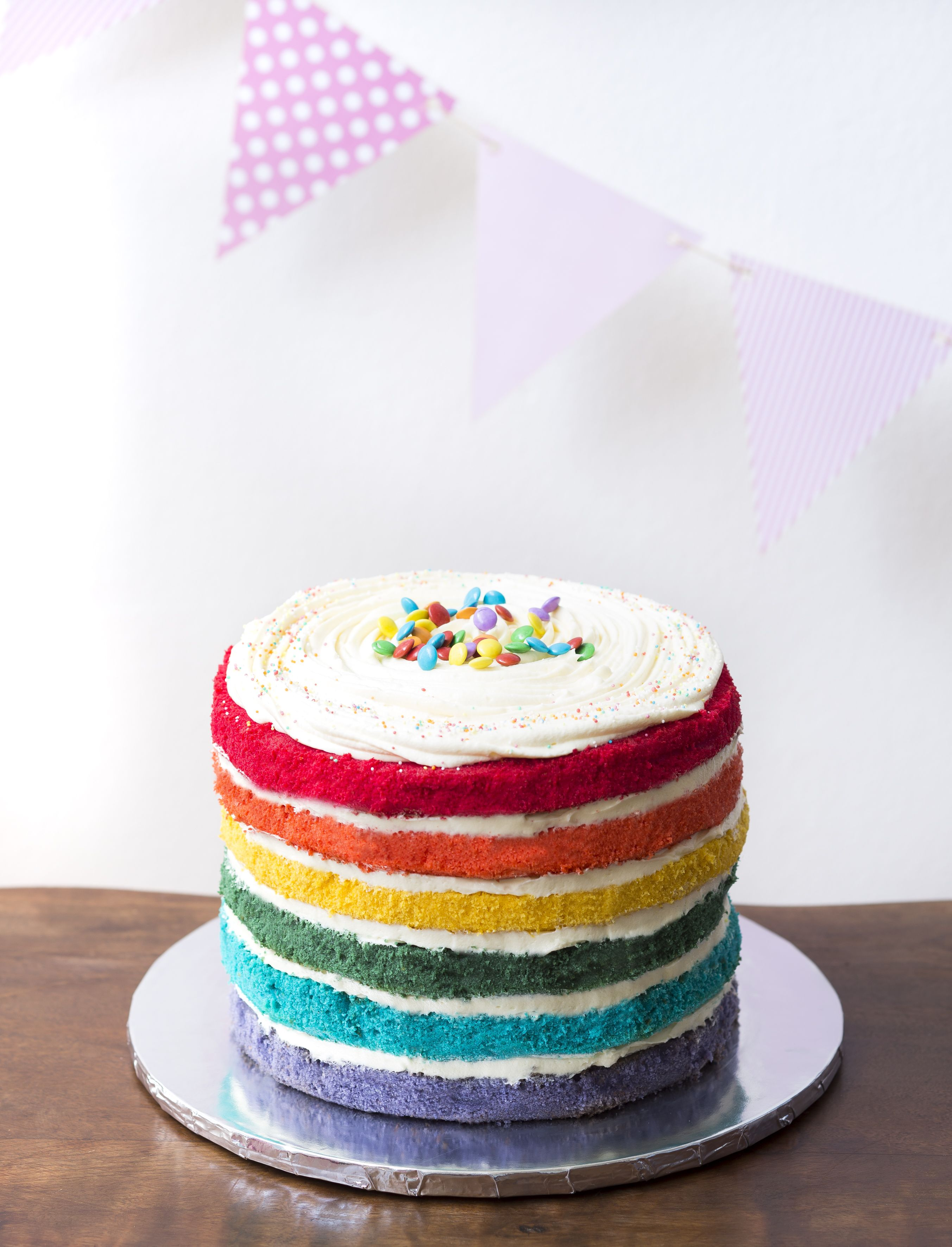 Naked Rainbow Cake with Cream Cheese Icing. Made by Sweet Tooth https://www.facebook.com/sweettoothcpt Bunting by Happy Time CPT https://www.facebook.com/happytimecpt Photo by Willem Lourens