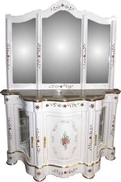 casa padrino luxus barock schrank mit spiegelkonsole weiss handbemalt mit marmorplatte luxus mobel konsole mit spiegel 1