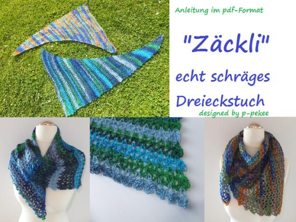 Zäckli - echt schräges Dreieckstuch - Häkelanleitung: https://www ...