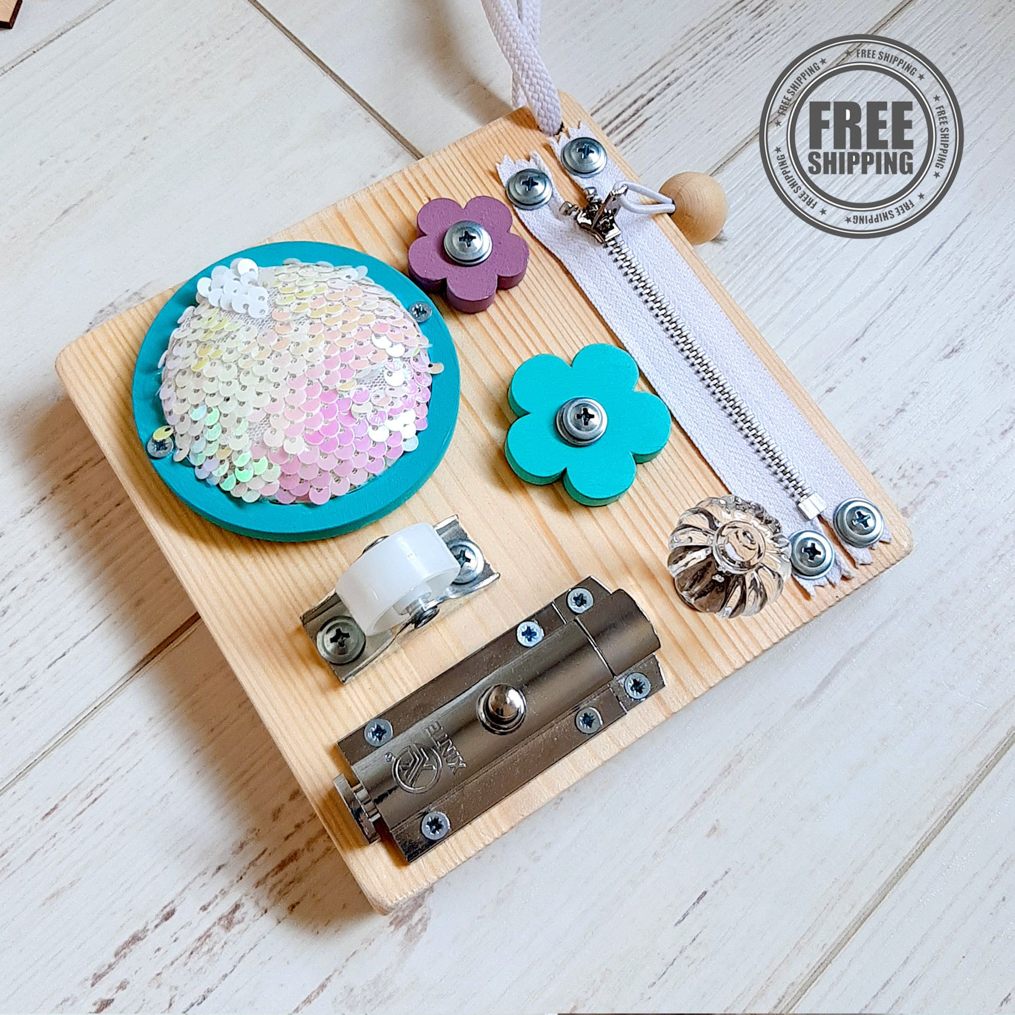 Turquoise pink travel busy board for girl with chalk board ...