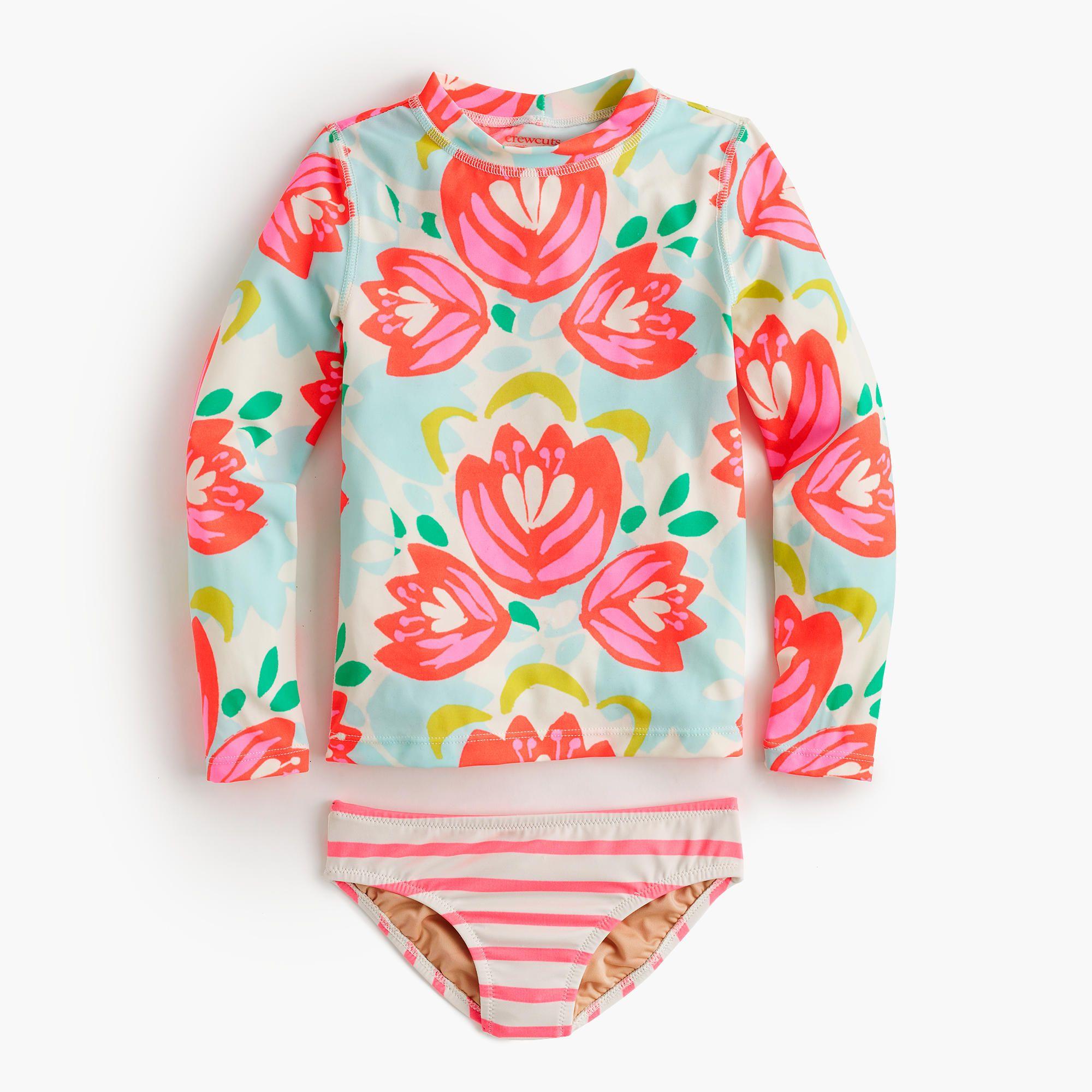 crewcuts Girls Rash Guard Bikini Set In Cactus Floral Size 8 Kid