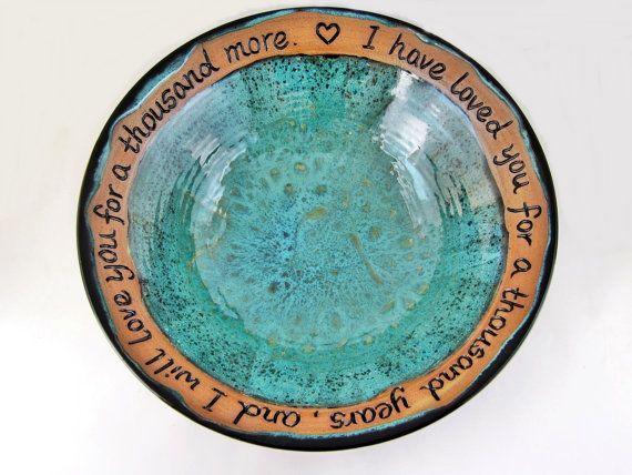 Blessing bowl, Custom engraving pottery for wedding gift,  9th wedding Anniversary gift