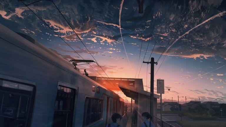 Power Lines Train Anime 4k 3840x2160 Fantasy Landscape Hd Wallpapers 1080p Landscape