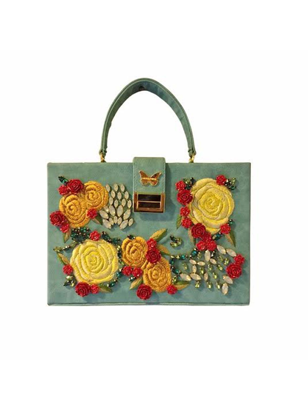 8241eb84217 This Handmade Sea Green Floral Clutch Is Made Of Faux Leather And  Embellished With Stone & Embroidery Work.