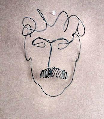 A wire portrait of Kurt Vonnegut by Alexander Calder