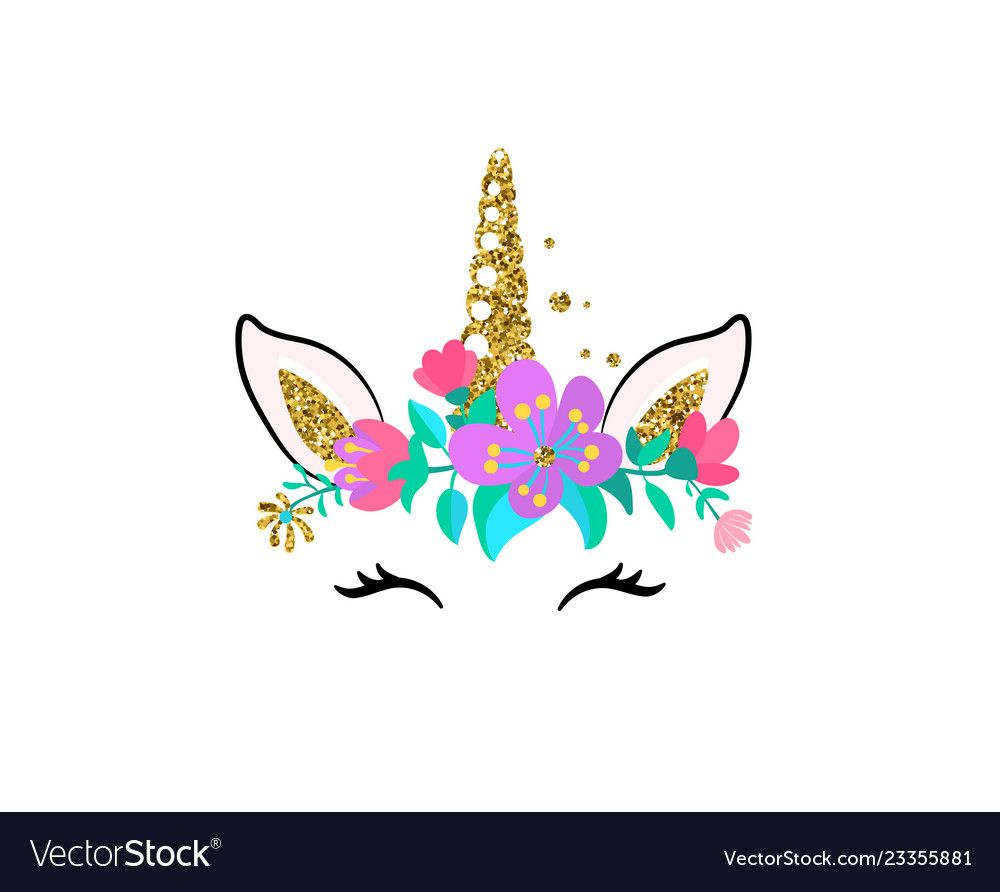 Unicorn Cute Isolated On White Royalty Free Vector Image Girl Patches Flower Frame Png Unicorn Wall Art