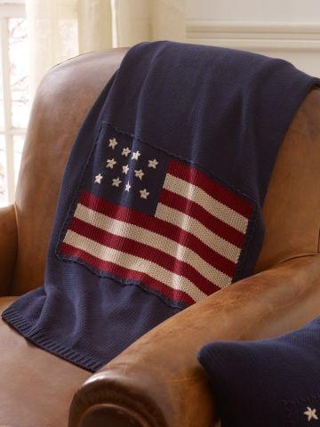 Jet de lit en tricot avec drapeau rl ralph lauren home for Parure de lit ralph lauren