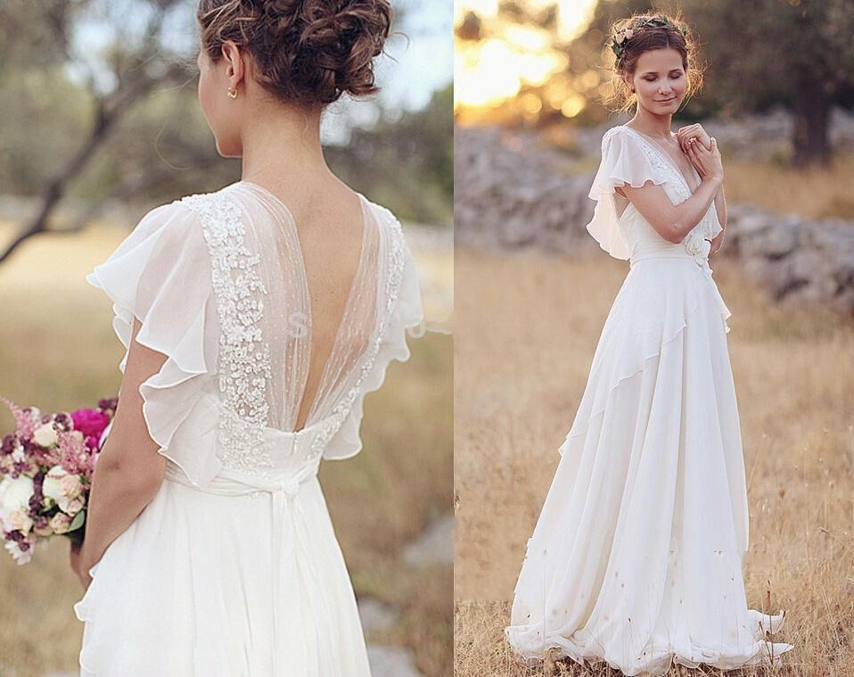 Bohemian 2017 Wedding Dresses Pearls Deep V Neck Backless