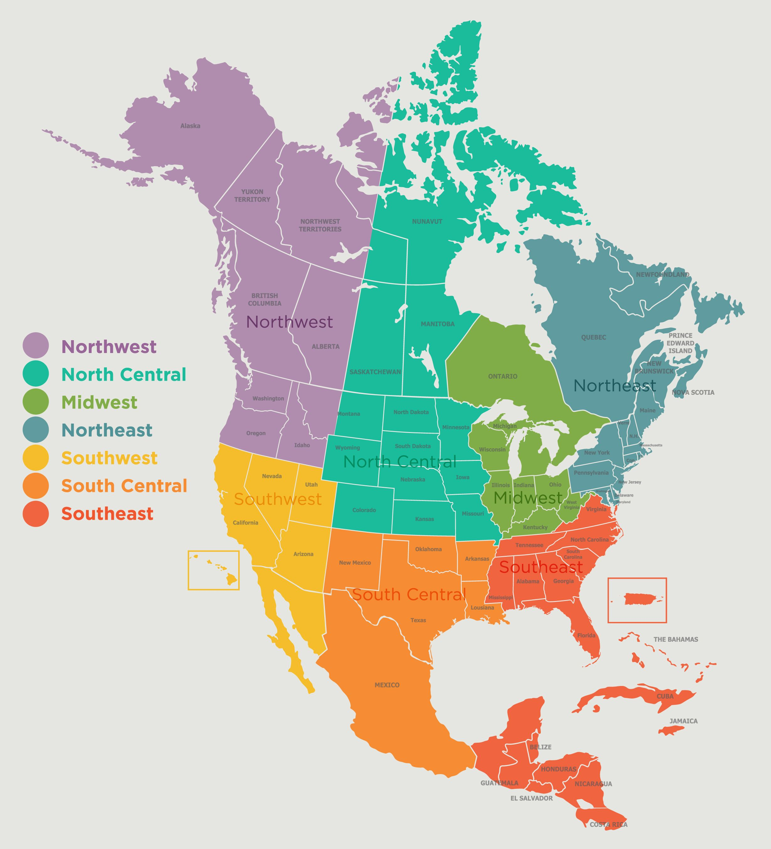 North America Coloring Map Of Countries Homeschooling North  Us Political  Map Regions