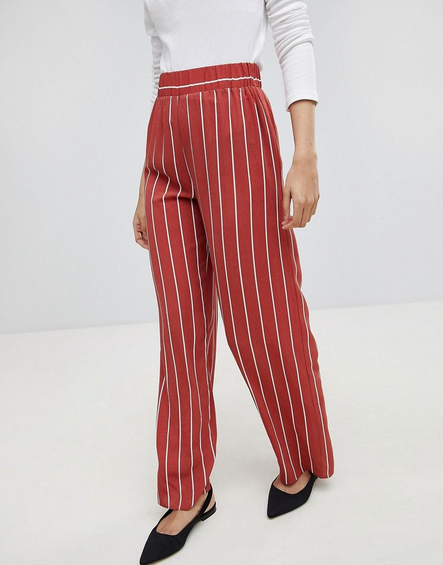Striped Wide Leg Pants Affordable Work Clothes Business Casual Outfit For Women