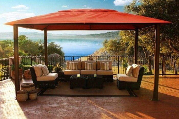 gardening ideas pergola orange Throw rattan furniture carpet
