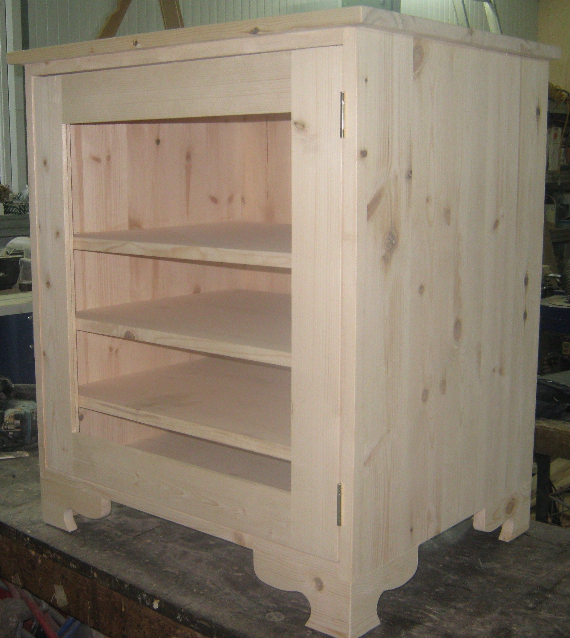 Reclaimed Pine Unfinished Hi Fi Cabinet With Shelves Glass Door