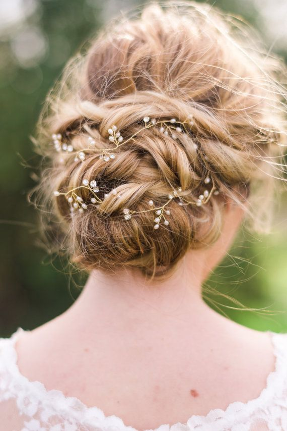 bridal gold hair vine bridal hair vine pearl hair vine pearl headband bridal headband wedding. Black Bedroom Furniture Sets. Home Design Ideas