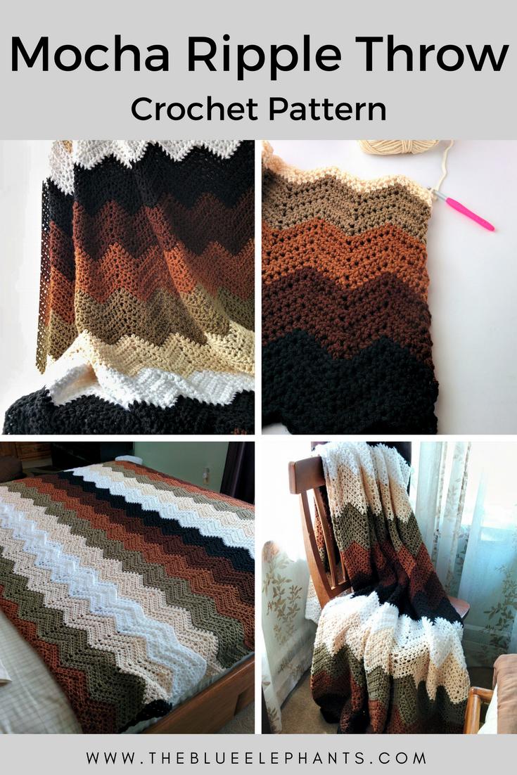 Mocha Ripple Pattern: Crochet Chevron Throw | Tejido y Ganchillo