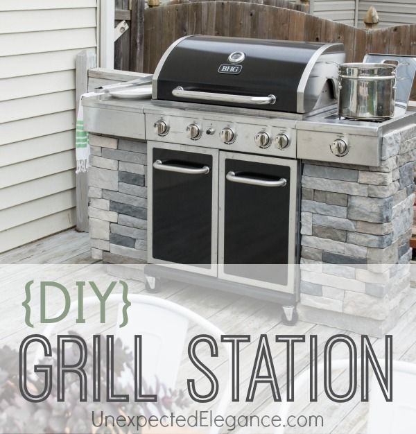I always wanted a fancy stone grill station, but couldn't justify the expense. See how I made this DIY Grill Station... with step-by-step instructions. Add some side panels to your existing grill to give it a custom built in look...easy!!