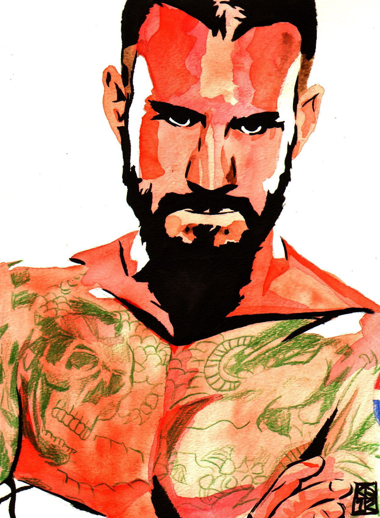 "CM Punk l Ink, watercolor and colored pencil on 9"" x 12"" watercolor paper l #WWE"