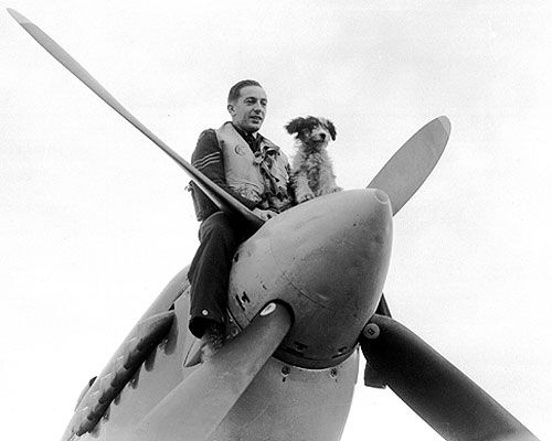 Man and dog sitting on the nose of a plane
