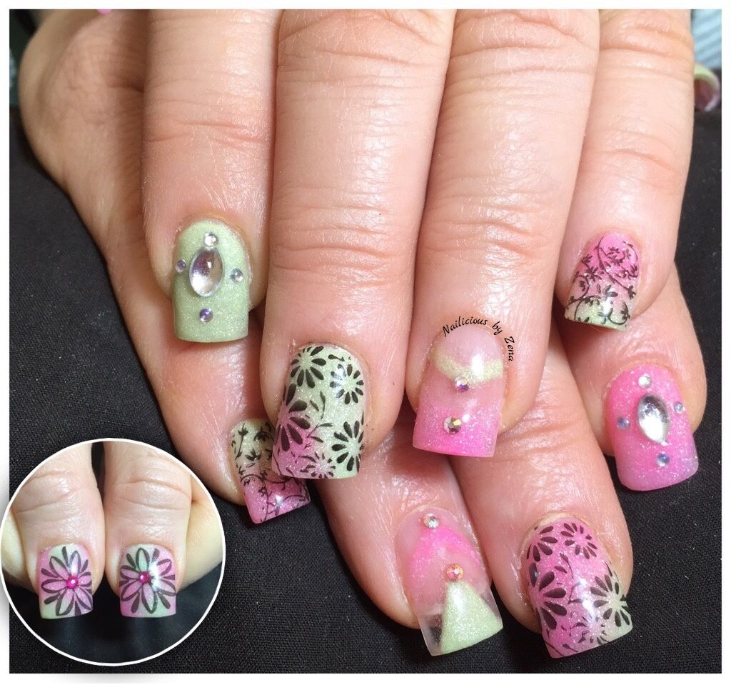 Planet Nails Neon Hot Pink Pastel Green Acrylic Powder With Gems And Nail Stamping Plates Ck11 Ck12 Green Acrylic Nails Pastel Pink Nails Pink Nails