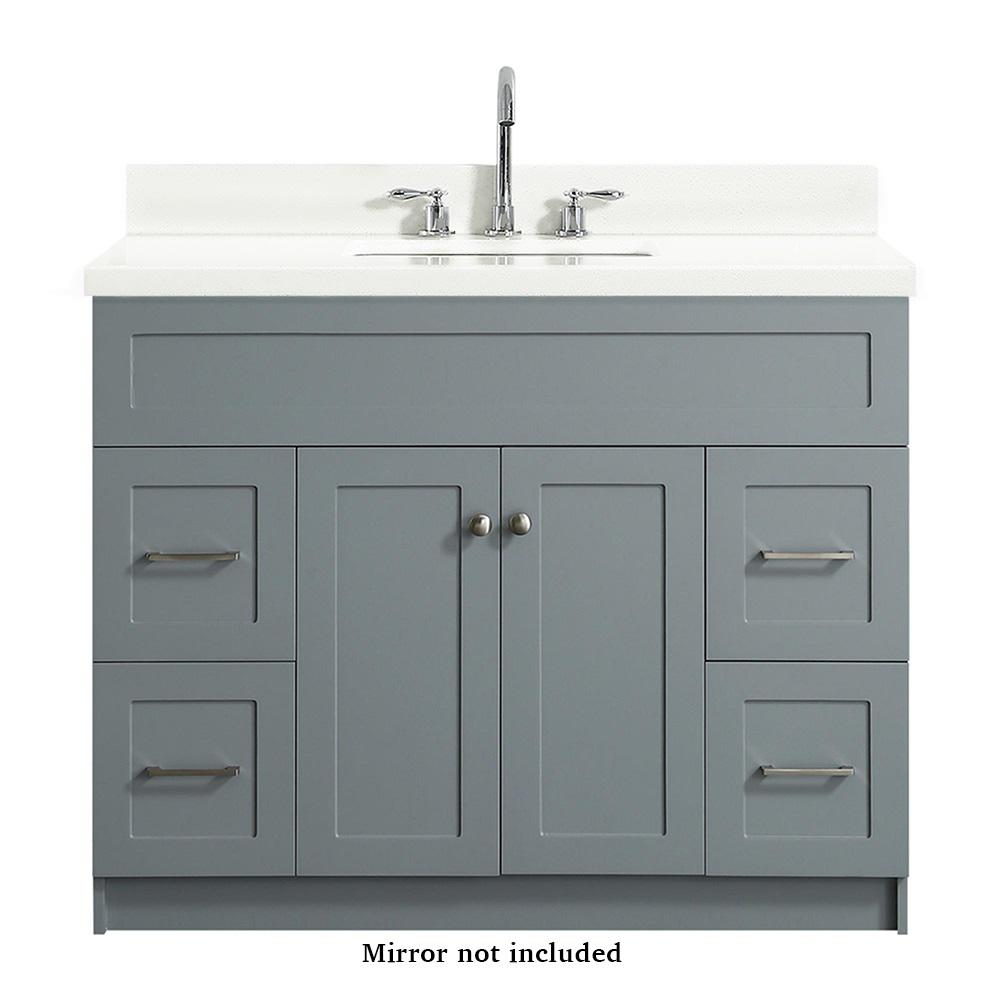 Ariel Hamlet 43 In Bath Vanity In Grey With Quartz Vanity Top In White With White Basin F043s Wq Vo Gry The Home Depot Bathroom Sink Vanity Bathroom Vanity Single Bathroom Vanity
