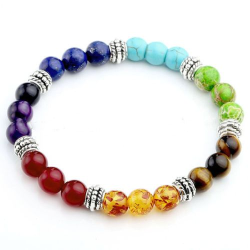 244bcbcf5 7 Chakra Healing Reiki Prayer Gemstone Beads Bracelet – OmYogaVibes ...