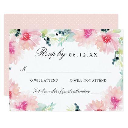 wedding rsvp card blush pink daisy watercolor wedding